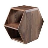 wewood hexa mesinha de apoio em nogueira