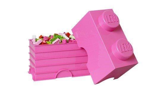 lego storage brick 2 pink