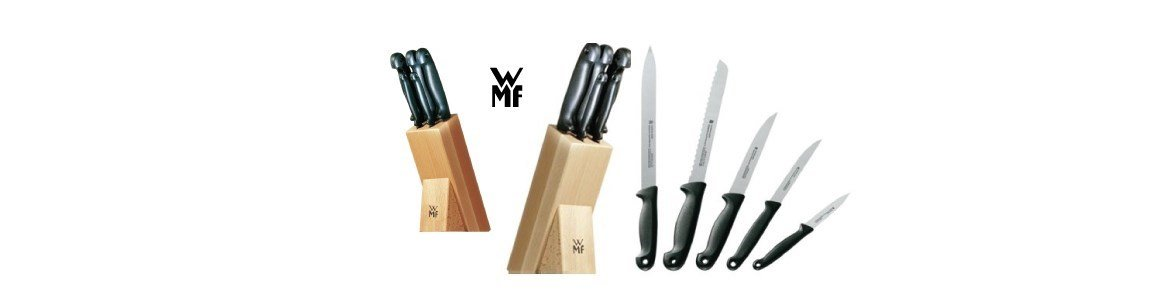 wmf conjunto cinco facas suporte em madeira