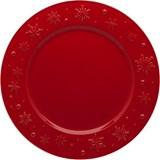 Bordallo Pinheiro Snowflakes conjunto de 2 pratos marcadores vermelho