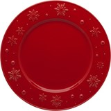 Bordallo Pinheiro Snowflakes set of 4 dinner plates red