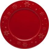 Bordallo Pinheiro Snowflakes conjunto de 4 pratos de mesa vermelho