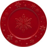 snowflakes set of 4 fruit plates red