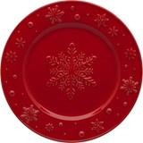Bordallo Pinheiro Snowflakes set of 4 fruit plates red