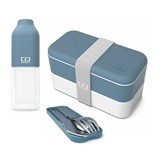 pack lunchbox and bottle with the cutlery as a gift denim
